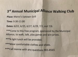 Municipal Alliance Walking Club